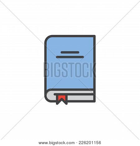 Text Book With Bookmark Filled Outline Icon, Line Vector Sign, Linear Colorful Pictogram Isolated On