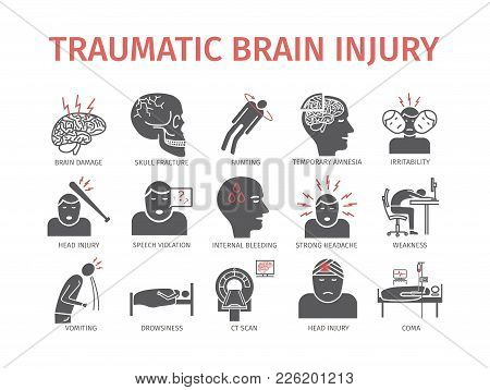 Traumatic Brain Injury Flat Icon. Head Injury. Vector Signs For Web Graphics.