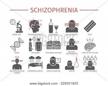 Schizophrenia. Symptoms. Icons Set. Vector Signs For Web Graphics