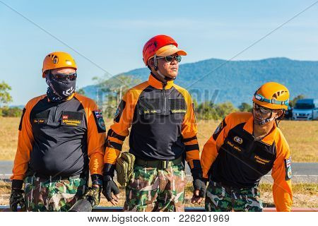 Nakhon Ratchasima, Thailand - December 23, 2017: Rescue Team In Drilling On Simulation Of Passenger