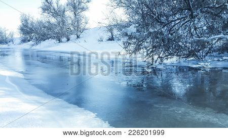 A Frozen River. In Captivity Near The Cold. Snowy Landscape. I Like To Walk On A Frozen River. Skati