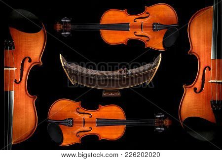 Violin Orchestra Musical And Thai Musical Alto Xylophone Instruments On Black Background