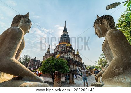 Ayutthaya, Thailand - January 17, 2018: Double Symmetry Old Ayutthaya, Thailand - January 17, 2018: