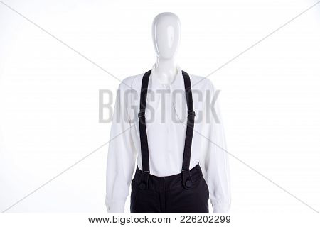 White Elegant Blouse And Suspenders. Women White Classic Shirt And Trousers With Braces On Mannequin