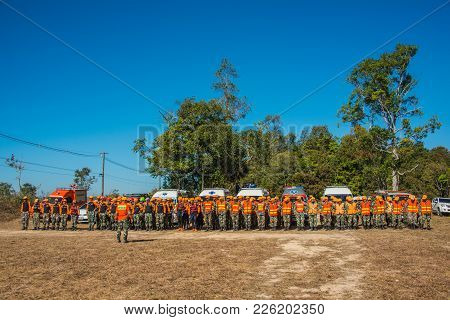 Nakhon Ratchasima, Thailand - December 23, 2017: Row Of Foresters Trained To Be Paramedics For Emerg