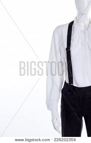 Trousers With Suspenders And White Blouse. Close Up Female Classic Shirt And Black Trousers With Bra