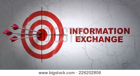 Success Information Concept: Arrows Hitting The Center Of Target, Red Information Exchange On Wall B