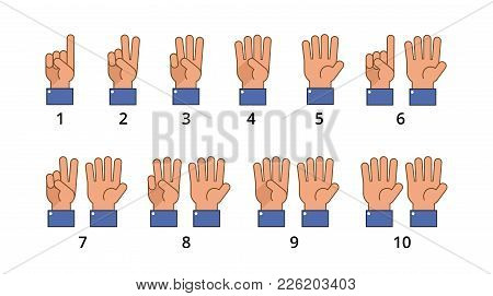 Counting Hand. Countdown Gestures, Language Number Flat Signs Isolated. Countdown Hand Finger, Numbe