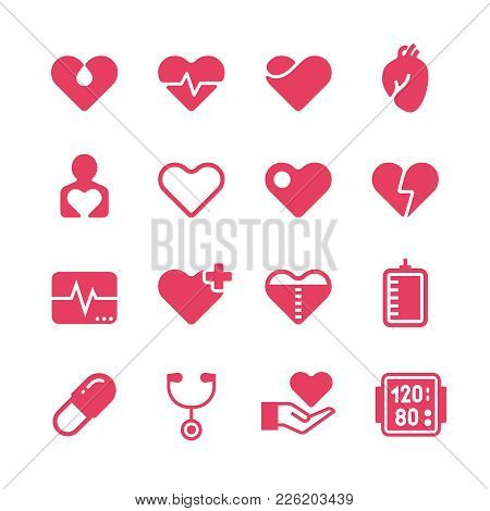 Heart Diagnosis And Cardiac Treatment Vector Icons. Cardiology Red Silhouette Pictograms. Medicine D