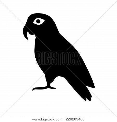Pionus Parrot Silhouette Icon In Flat Style. Exotic Tropical Bird Symbol On White Background