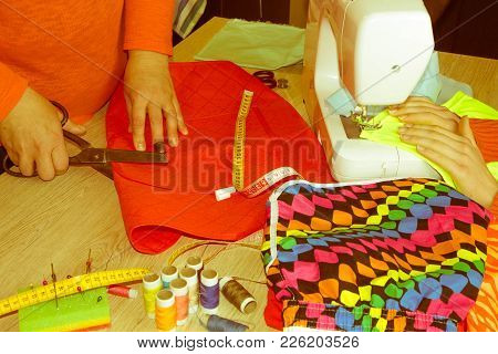 Close-up Of Woman's Hand Stitching Quilting. Tailor Woman Working In His Tailor Shop, Tailoring