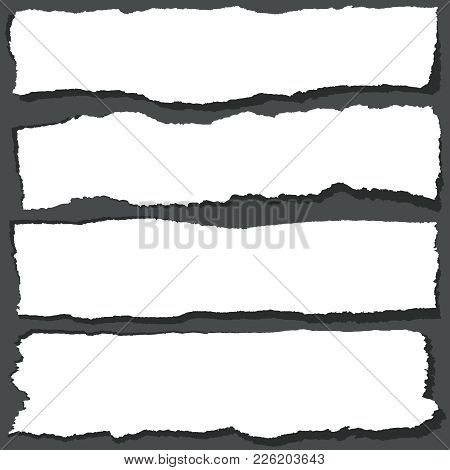 Torn Paper Ribbons With Jagged Edges. Abstract Grange Paper Sheets Vector Set. Ripped Paper Design B