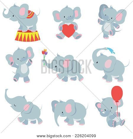 Funny Cartoon Baby Elephants Vector Collection For Kids Stickers. Elephant Funny Character With Flow