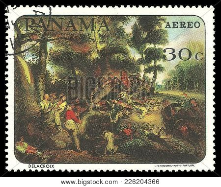 Panama - Circa 1967: Stamp Printed By Portugal, Color Edition On Art, Shows Painting The Hunt By Del