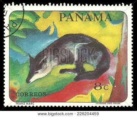 Panama - Circa 1967: Stamp Printed By Portugal, Color Edition On Art, Shows Animal Painting By Famou