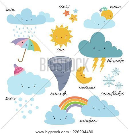 Cute Cartoon Weather Icons. Forecast Meteorology Vector Vocabulary Symbols. Sun And Cloud, Rain And