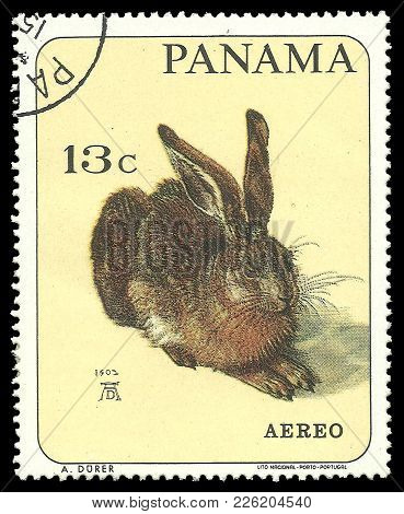 Panama - Circa 1967: Stamp Printed By Portugal, Color Edition On Art, Shows Painting European Hare B
