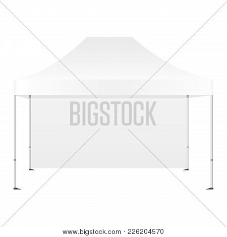Canopy Tent With One Wall Mockup Isolated On White Background - Front View. Vector Illustration
