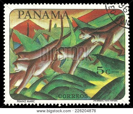 Panama - Circa 1967: Stamp Printed By Portugal, Color Edition On Art, Shows Painting Monkey Frieze B