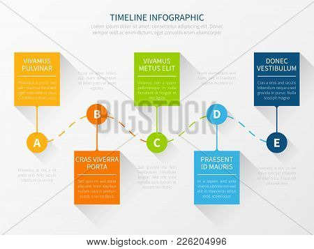 Modern Vector Timeline. Workflow Chart Infographic Concept For Marketing Presentation. Timeline Mark
