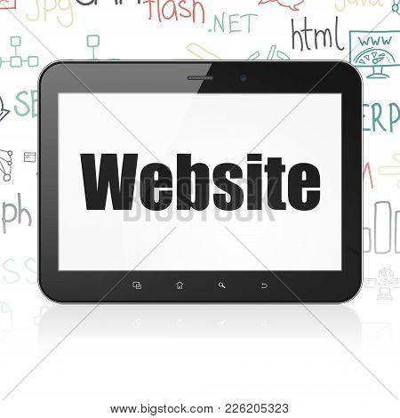 Web Design Concept: Tablet Computer With  Black Text Website On Display,  Hand Drawn Site Developmen