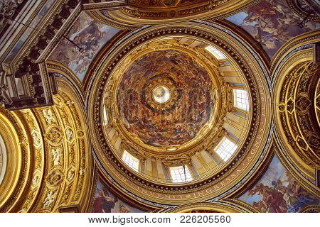 Ceiling Of Basilica Sant'agnese In Agone August 3, 2017 In Rome, Italy