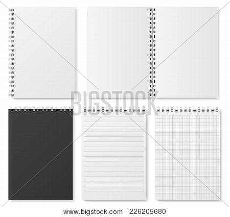 Blank Open And Closed Realistic Notebook, Organizer And Diary Vector Template Isolated. Diary Notepa