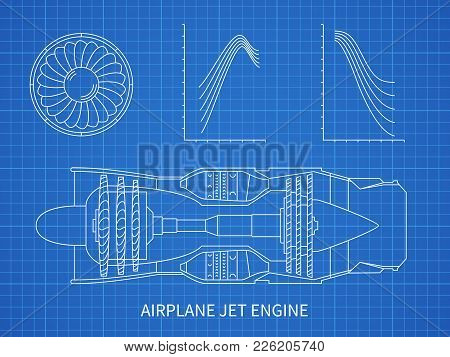 Airplane Jet Engine With Turbine Vector Blueprint Design. Illustration Of Air Engine And Turbine Pla
