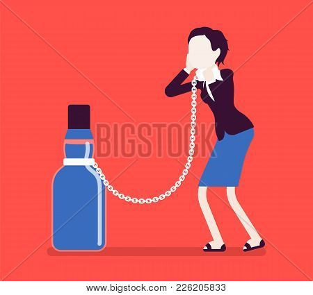 Woman With Bottle In Alcohol Dependency. Young Frustrated Person With Addiction To Alcoholic Drink,