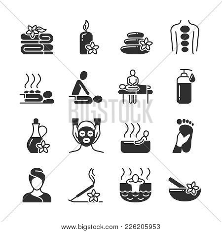 Massage And Spa Therapy, Body Care Medical Vector Silhouette Icons. Massage And Health Therapy For B