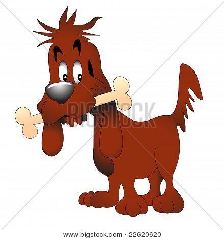 illustration amusing dog keeping bone on white poster