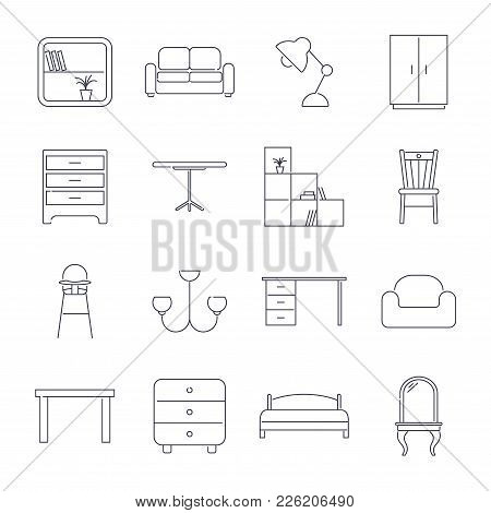 Collection Of Home Furniture Icons In Thin Line Style. Editable Stroke. Eps 10.