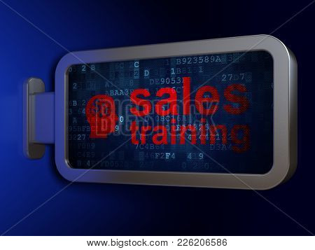 Advertising Concept: Sales Training And Head With Finance Symbol On Advertising Billboard Background