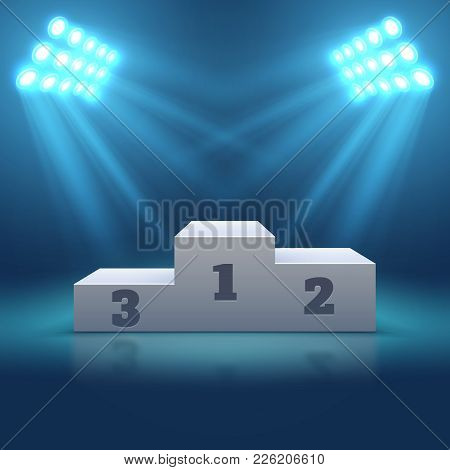 Sports Winner Empty Podium Illuminated By Searchlights Vector Illustration. Stage Empty With Floodli