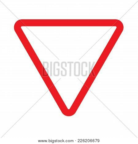 Give Way Sign Icon On White Background. Give Way Sign.  Flat Style. Give Way Symbol.