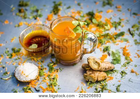 Close Up Of Carrot Juice Or Daucus Carota Subsp. Sativus Juice For Dieting And Weight Loss With Mint