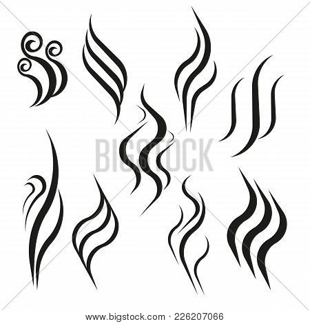 Smell Aroma And Heat Sign Set. Odor And Scent Or Hot Vapor Silhouettes. Smoke Hot Vector Icon Isolat