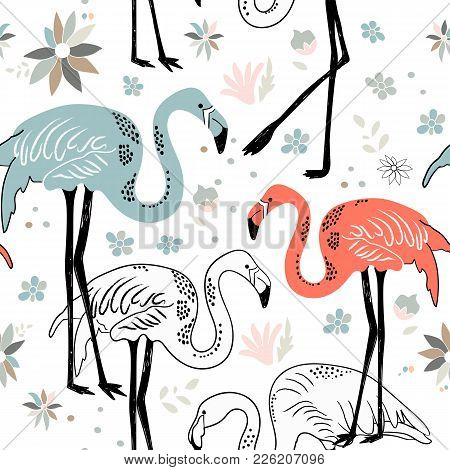 Abstract Hand Painted Seamless Animal Background. Birds Flamingo Pattern With Flowers. Vector Illust