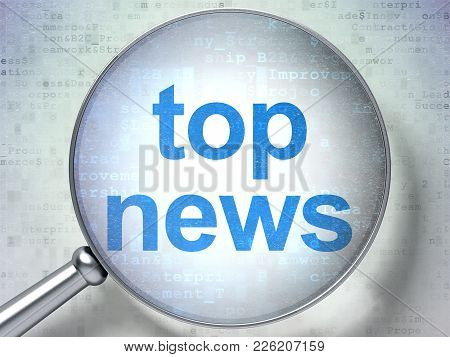 News Concept: Magnifying Optical Glass With Words Top News On Digital Background, 3d Rendering