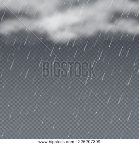 Rain Vector 3d Illustration With Falling Water Drops And Grey Storm Clouds. Raindrop Weather Backdro