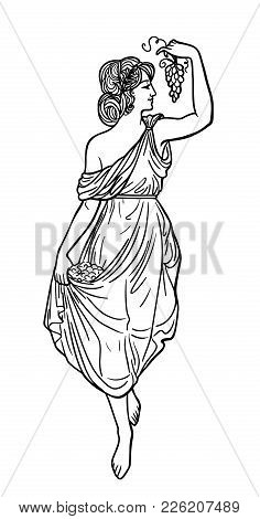 Greek Woman With Grapes. Drawing In Art Nouveau Style