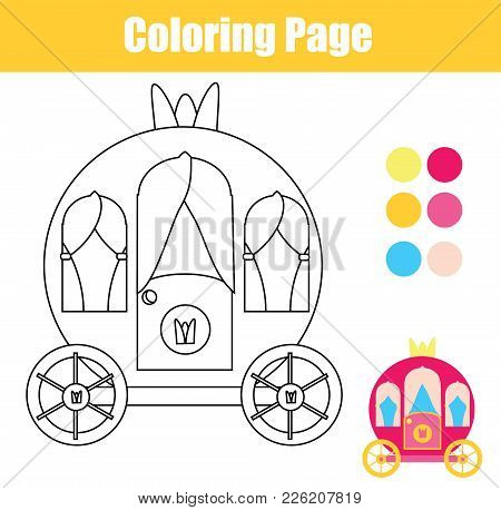 Coloring Page With Princess Carriage. Color The Picture. Educational Children Game, Drawing Kids Act