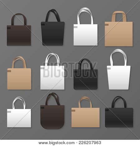Blank White, Black And Brown Canvas Shopping Bag Templates. Vector Handbags Mockup. Eco Fabric Cotto