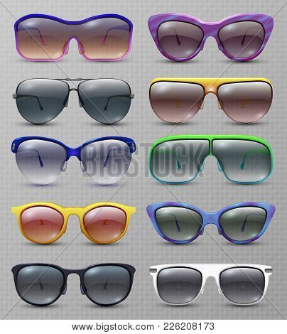 Realistic Fashion Sunglasses And Glasses Isolated Vector Set. Illustration Of Sunglasses And Eyeglas