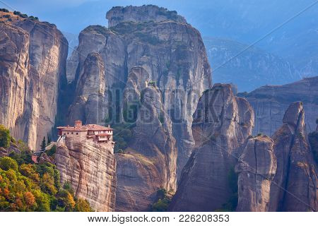 Beautiful View Of Monasteries In Meteora, Greece. Unusual Rock Formations And Monastery On The Edge
