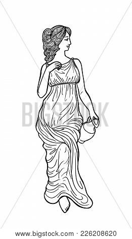 Greek Woman With Amphora. Drawing In Art Nouveau Style