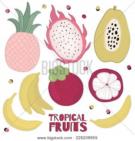 Collection Of Vector Illustrations Of Colorful Fruits Isolated On White Background: Papayas, Pineapp