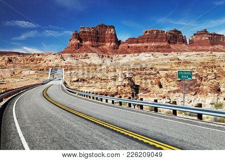 Bridge above Colorado River, 95 highway, Utah, USA