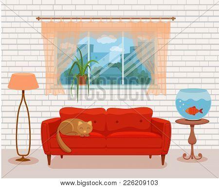 Living Room Cozy Interior With Colorful Sofa, Pillow, Bedside Table, Aquarium Lamp. Vector Illustrat