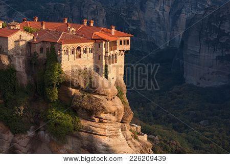 Beautiful View Of Monasteries In Meteora, Greece. Unusual Rock Formations And Varlaam Monastery On T